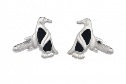 Penguin Cufflinks With Crystal Stone Eye
